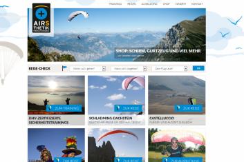 Airsthetik Webseite für Gleitschirmreisen und  Gleitschirmausbildung